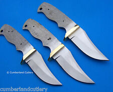 Lot of 3 Hunting Knife Making  Blade Blanks with Brass Finger Guard
