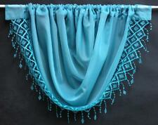 ELEGANCE TASSLED MACRAME VOILE SWAG CURTAIN ~ Decorative Drapes Pelmet Valance