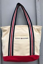 Tommy Hilfiger Spell Out Logo Canvas Tote Bag~Zip Top~Red White Blue Straps EUC