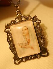 Lovely Brasstone Our Lady Handmaiden of the Lord Picture Frame Pendant Necklace