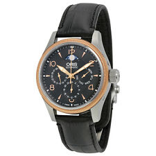 Oris Big Crown Complication Black Dial Black Leather Mens Watch 01 582 7678