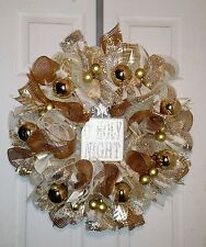 CHRISTMAS HOLIDAY WINTER  DECO MESH  WREATH   - Free Shipping