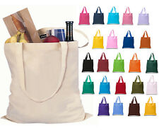 100 Pack Mix Colors COTTON TOTE BAGS Durable Books School Shopping Art Swag Bags