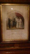 Currier & Ives Original Lithograph Marriage Certificate Civil War 1864 Moomaw