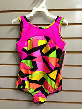 Body Wrappers 2636 Girl's 4-6 (Small) Geometry Abstract Neon Gym Tank Leotard