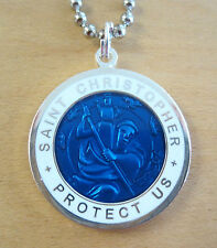 St Christopher Patron of Travel Surf Pendant Lg RB/WH,Royal Blue,White Necklace