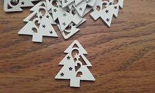 Job Lot 50 35mm White Wood Christmas Trees Embellishments Card Making Craft