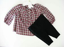 Ralph Lauren Baby Girls Plaid Tunic & Tuxedo Striped Legging Set Sz 24M - NWT