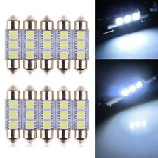 10 x 36MM 5050 3SMD LED Festoon Dome Coche Auto Interior Luz Bombilla blanco