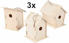 3 Unfinished Wood Bird Houses - Kids Wooden Craft DIY Project - US Seller - NEW