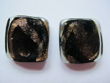 2 25mm lampwork glass black gold accents flat square beads