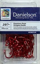 100 Danielson HCORCP Red Chrome Octopus Fish Fishing Hooks size 2/0 - 100 hooks