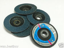 """10 x 125mm 5"""" STEEL/STAINLESS STEEL FLAP DISCS   WHEELS 40 grit 4 ANGLE GRINDER"""