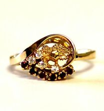 14k yellow gold womens created ruby cubic zirconia cz ring 3.7g  estate vintage