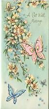 VINTAGE PINK BLUE BUTTERFLIES BUTTERFLY APPLE BLOSSOMS TREE FLOWERS CARD  PRINT