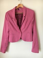 H&M pink Lined Size 12 Polyester mix Short Fitted jacket  T5476