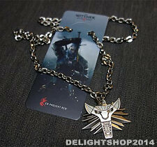 The Witcher 3 Wolf head Medallion Geralt of Rivia Pendant Necklace Chain Limited