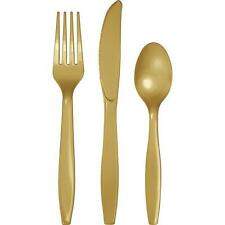 Glittering Gold Party Premium Plastic Cutlery Set - 24 Pieces