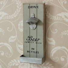 Retro Wall Mounted Bottle Opener Home Kitchen Bar Shabby Vintage Chic Gift Grey