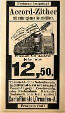 Carlo Rimatei Dresden ACCORD ZITTER  Historische Reklame von 1894