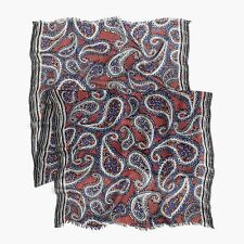 NWT $59 J. Crew linen viscose scarf navy paisley NO MARKS IN TAG