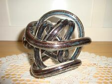 "REDUCED Art Glass Free Form Twisted Tube Ball-Gold Lutz-5"" X 5""Knot-Paper Weight"