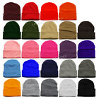 New Unisex Plain Color Beanie Skull Cap Winter Solid Knit Ski Cap Cuff Blank Hat