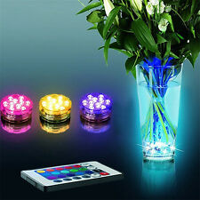 Submersible 10LED RGB Light Party Vase Underwater Remote Control Lamp Gift Showy
