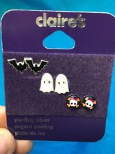 Three Pairs Of Halloween Themed Sterling Silver Earrings From Claire's New