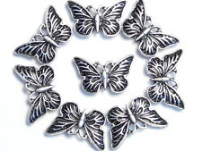 8 - 2 HOLE SLIDER BEADS, METAL BEADS ANTIQUED SILVER TONE BUTTERFLY BUTTERFLIES