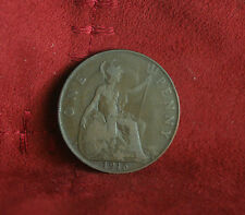 1915 Great Britain 1 One Penny Bronze World Coin Seated Trident UK England