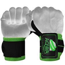 """AQWA Power Weight Lifting Wrist Wraps Support Gym Training Fist Straps GREEN 14"""""""