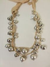 Ann Taylor Silver Shiny Matte bauble Beige bow Two Tie Necklace NWT $39.50