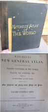 """ATLAS Of The WORLD,1888,S.A.MITCHELL,Maps,Plans,15 1/4""""x12 1/4"""" Page Size,Color"""