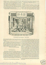 interior Buddha Temple Pagode Bouddha Japan Japon Siebold GRAVURE OLD PRINT 1858