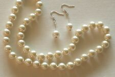 "10MM Lt Yellow South Sea Shell Pearl Necklace 18""/Earrings NEW (silk gift bag)"