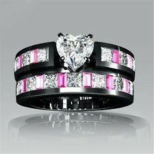 Swarovsk Crystal pink heart wedding diamond Ring set 18K white Gold filled R165b