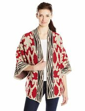 LUCKY BRAND SEQUOIA SWEATER INTARSIA OPEN CARDIGAN JACKET WRAP RED MULTI M $140
