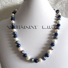 "20"" 9-11mm White Gray Navy Freshwater Pearl Necklace Jewelry U"