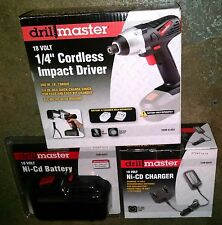 "DRILL MASTER 18 v VOLT CORDLESS 1/4"" IMPACT DRIVER WITH BATTERY & CHARGER NEW"
