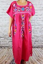 Large Pink Peasant Tunic Boho Hippie Hand Embroidered Mexican Dress Tunic