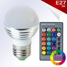 Bombilla LED E27 RGB 3W High Power 360º Blanco + Control Remoto AC85-265V