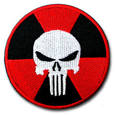 Punisher Nuclear Radiation Patch Iron on Harley Biker Army Motorcycle Badge Sew