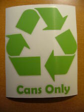 "5"" Cans Only Lime Green Recycling Vinyl Trash Bin Can Restaurant Decal Sticker"