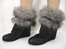80%20 EMBOSSED LEATHER HIDDEN WEDGES FAUX FUR PULL ON ANKLE BOOTS WOMEN'S 8 MINT