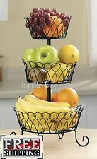 Fruit Basket Holder 3 Tier Kitchen Tray Holder Storage Organizer Stand Wire Rack