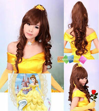 Disney Anime Wig Beauty And The Beast Princess Belle Cosplay Wig + cap