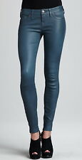 NWT $750 True Religion Casey Skinny Blue/Grey Lamb Leather Jeans Pants Sz 28 NEW