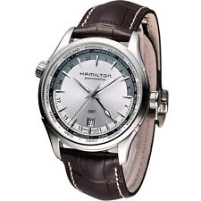 H32605551 Hamilton Jazzmaster GMT Silver Dial Brown Leather Mens Watch NEW