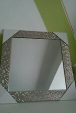 Large Silver Mosaic Tiled Effect Mirror Sparkling Frame 49cm x 59cm NEW